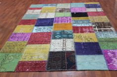 Overdyed Handmade Turkish Patchwork Carpet Multicolour  - Vintage Overdyed Turkish Rug- (210X 328 cm)(7 ft X 10,7 ft)