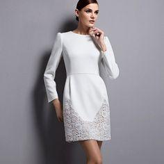 Spring/Autumn OL Elegant Slim Montage Long Sleeve Lace Dress White Blue Rose