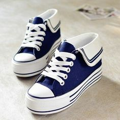 Japanese students navy canvas shoes · Fashion Kawaii [Japan & Korea] · Online Store Powered by Storenvy Women's Shoes, Sock Shoes, Platform Shoes, Cute Shoes, Me Too Shoes, Shoe Boots, Shoes Sneakers, Canvas Sneakers, Sneakers Fashion