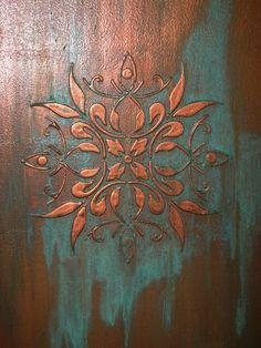 Raised plaster relief/copper patina Denver, Colorado, by Cindy Norris