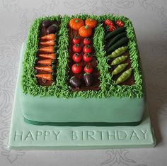 Vegetable Garden Birthday Cake Vanilla bean sponge with vanilla bean syrup layered with vanilla bean buttercream and raspberry con. Beautiful Cakes, Amazing Cakes, Vegetable Garden Cake, Garden Birthday Cake, Garden Cakes, Elegant Wedding Cakes, Novelty Cakes, Occasion Cakes, Creative Cakes