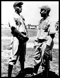Jackie Robinson and Satchell Paige when they were both playing for the Kansas City Monarchs