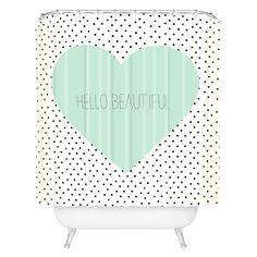 This shower curtain is more fun and funky and really follows the color theme in the girls bedroom.  It is a bit pricey.    So cute for girls bathroom.  DENY Designs Hello Beautiful Heart Shower Curtain