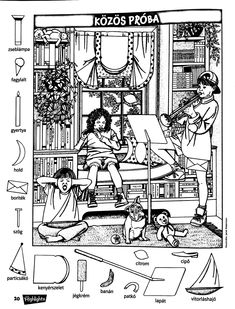 Hidden Object Puzzles, Hidden Picture Puzzles, Hidden Object Games, Hidden Objects, Hidden Pictures Printables, Coloring Books, Coloring Pages, Picture Composition, Pipe Cleaner Crafts