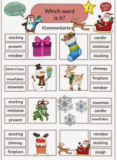 "Klammerkarten for practicing the vocabulary To practice and consolidate the English vocabulary on the subject of ""Christmas"" I have for the Freiarbei … English Teaching Resources, English Activities, Christmas Worksheets, Worksheets For Kids, Preschool Curriculum, Montessori Activities, English Vocabulary, English Grammar, English Lessons"