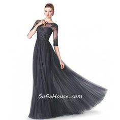 743ad47e70e1 Formal Sheer Illusion Neckline Long Black Lace Beaded Evening Dress With  Sleeves