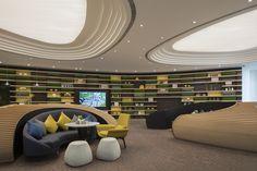 Interior Design Sketches, Office Interior Design, Office Interiors, Hospital Architecture, Reception Desk Design, Sales Center, Clinic Design, Lounge Design, Zaha Hadid Architects