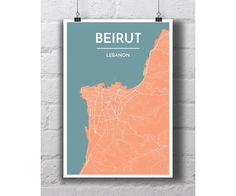 Beirut Lebanon City Map Print by PointTwoMaps on Etsy