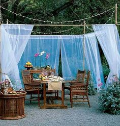 With mosquito netting and lights