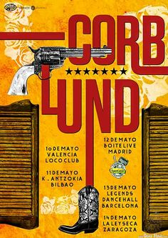 Cartel de Corb Lund and the Hurtin' Albertans (Kafe Antzokia, Bilbao, 2016)  http://denaflows.com/galerias-de-fotos-de-conciertos/c/corb-lund/