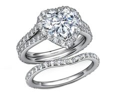 Engagement Ring - Heart Shape Halo Pave Bridal Set  - ES1094HSBS