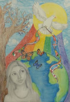 Finalist from USA: Lions Clubs International Peace Poster Contest Lions Clubs International, International Day Of Peace, Kids Art Class, Art For Kids, Peace Poster, Poster Competition, Youth Programs, Peace Dove, Art Competitions