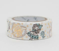 New Japanese washi tape with foil embellishments! Cute Japanese washi masking tape with an Alice in Wonderland pattern, designed by Shinzi Katoh, the the world-renowned Japanese zakka artist. Great fo