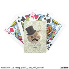 Villain Cat LOL Funny Bicycle Playing Cards