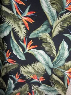 Vintage style Tropical Bark Cloth for our rattan set?