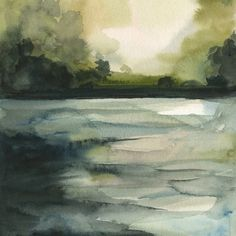 """In the Water- Archival print, landscape. , via Etsy. Painting, """"Over the Sea grade . Watercolor Landscape, Landscape Art, Landscape Paintings, Watercolor Paintings, Watercolor Fashion, Guache, Watercolor Techniques, Painting Inspiration, Painting & Drawing"""