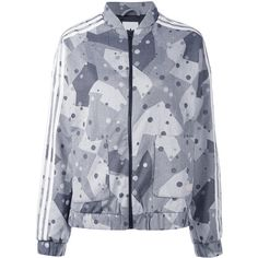 Adidas Originals graphic print track jacket (425 ILS) ❤ liked on Polyvore featuring activewear, activewear jackets, black, adidas originals, warm up jackets, track top, tracksuit jacket and track jacket
