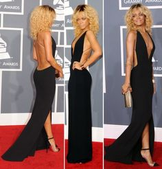 Dress: rihanna gown clothes backless backless black open back long sexy little black maxi floor