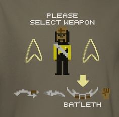 Star Trek the Next Generation t-shirt with Worf, Select Weapon in 8 bit printed on it.