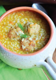 Check out this quick and easy creamy chicken meatball orzo soup!
