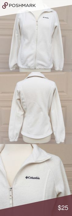 COLUMBIA WHITE FLEECE JACKET Good condition; no flaws; light weight jacket, machine washable, Two front pockets; Body: 100% polyester, Brushed lining: 100% polyester; Shoulder to bottom hem: 24 inches approx. All the zips are working. Columbia Jackets & Coats