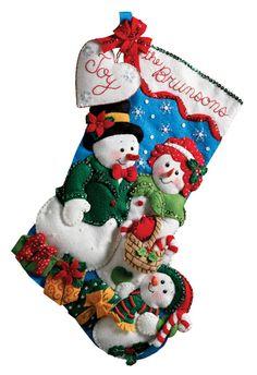 Our Family Christmas Stocking Felt Applique kit (Bucilla) Family Christmas Stockings, Christmas Stocking Kits, Felt Stocking, Personalized Christmas Ornaments, Felt Ornaments, Christmas Snowman, Christmas Crafts, Christmas Decorations, Snowman Kit