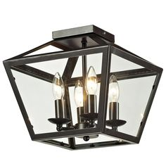 Trapezoid Glass Flush Mount Ceiling Lantern