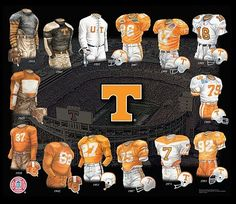 University of Tennessee Volunteers Football Uniforms Tn Vols Football, Tennessee Volunteers Football, Tennessee Football, College Football Teams, Football Uniforms, Football Helmets, Tennessee Game, Tennessee Knoxville, College Sport