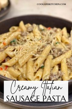 Creamy Italian Sausage Pasta has a very slight spicy kick to it and the Parmesan, broth, garlic, and cream create an almost buttery-like sauce. It is SO GOOD! Penne Pasta, Pasta Noodles, Italian Sausage Pasta, Real Moms, Food Heaven, How To Cook Pasta, Quick Easy Meals, Parmesan, Pasta Recipes