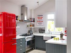 Retro Style Kitchen With Cherry Red Fridge