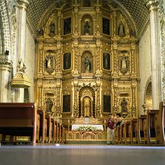 """Does anyone love gold more than the Catholic Church? Back in the day, when missionaries and explorers on behalf of the church were """"discovering"""" the new world, they developed a bit of a golden fever. The walls of Catholic churches became elaborately adorned with 18-22K gold, like this one in Oaxaca, Mexico."""