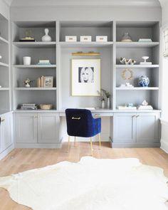 Grey Bookshelves, Built In Shelves, Built Ins, Billy Bookcases, Home Office Desks, Office Decor, Office Ideas, Home Office Furniture Design, Office Inspo