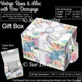 Gift Box Vintage Roses & Lilac with Bow Decoupage