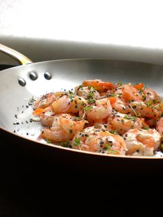 My Little Expat Kitchen Sautéed shrimp with tahini and garlic sauce and a sumac, cumin seed and pistachio dukkahen: