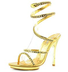 f5e6cdba09ba8a Womens Celeste Lulu08 Gold Evening Rhinestone Straps Sandals Shoes Gold 7      You can