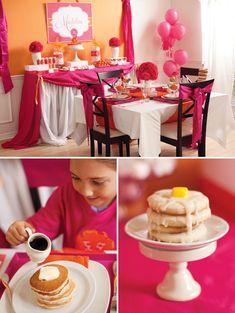 "Pancakes and Pajama Party for little girl's!!!! SO CUTE! ""Hotel Room Service"" style. A little menu with different kinds of pancakes, cereal in push pops, orange juice in champagne glasses, sugar cookie ""pancake stacks"" with maple icing and fondant (or a yellow Starburst) as a pat of butter. This seriously couldn't get any cooler. :)"