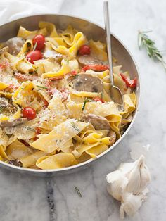 Pappardelle Pasta in Marsala Sauce with Sausage, Mushrooms and Cherry Tomatoes