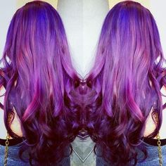 Purple hair color with highlight, unforgettable nice look dark hair can try