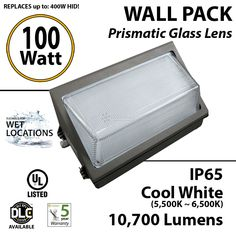 100w LED Wall Pack Light Fixture - 450 Watt HID Lighting Equal | LEDRadiant
