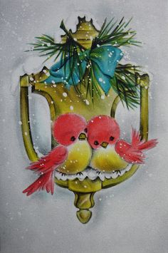 1960s Christmas card with a sweet pair of birds on a door knocker.