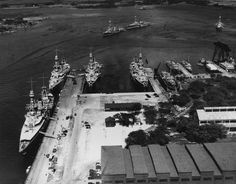 """Intelligence efforts at the shipyard, pearl Harbor,on 2 February 1933. at the pier on the left-heavy cruiser Augusta,Chicago,Chester and Northampton.right-flashdancer Kane,Fox (in the dock),the name of the extreme right is unknown.in the water area of the shipyard next """"Washingtonians""""-Pensacola,Louisville and salt lake city"""
