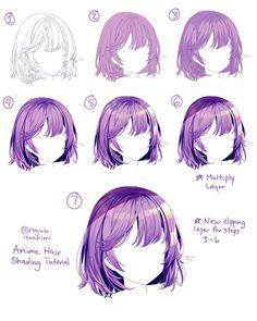 Drawing Hair Tutorial, Manga Drawing Tutorials, Drawing Techniques, Drawing Tips, Digital Painting Tutorials, Digital Art Tutorial, Art Tutorials, Digital Art Beginner, Pelo Anime