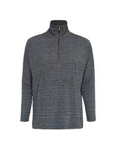 Mela Purdie Tweed Jacquard Funnel Zip Sweater