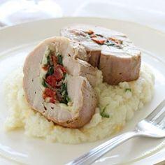 Spinach, Prosciutto, and Mozzarella Stuffed Pork Tenderloin- an elegant main course option for holiday dinner parties.
