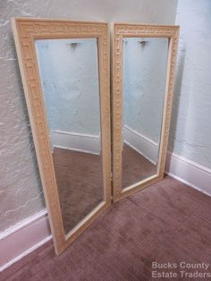 Hollywood Regency Chinese Chippendale Pair of Beveled Rectangular Wall Mirrors