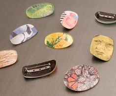 Recycled Eyeglass Brooches. Made from old eyeglass lenses and images from magazines.