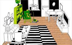 Auch für eine Leseecke kann Platz in deinem Wohnzimmer sein. Diese Zeichnung zeigt in Grün betonte Bereiche, die sich als Lesebereich im Wohnzimmer eignen.