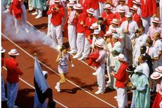 Arrival of the Olympic Flame in the Olympic Stadium during the opening ceremony of the 1988 Olympic Games in Seoul, South Korea