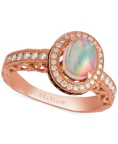 Le Vian Chocolatier® Neopolitan Opal† (2/3 ct. t.w.), Vanilla Diamonds® and Chocolate Diamonds® (5/8 ct. t.w.) Ring in 14k Strawberry Gold® - Rings - Jewelry & Watches - Macy's