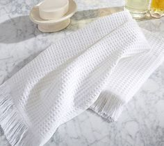 This textured towel is larger than the traditional guest towel, making it perfect for everyday use, or for parties and gatherings. Guest Towels, Hand Towels, Bath Linens, Waffle, Pottery Barn, Weave, Birch Lane, Rugs, Guest Room
